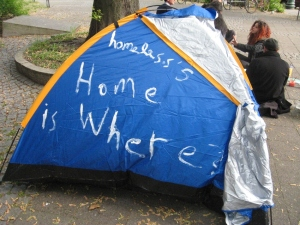 a tent as banner with slogans