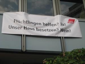 Am Tag der Räumung hängte der DGB-Vorstand dieses Plakat auf