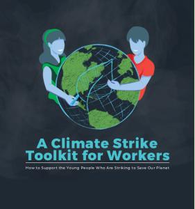 """Eine Frau und ein Mann umarmen den Planeten und es wird zum Klimastreik unter Berücksichtung der Arbeiter*innen seitens """"Workers for sustainability"""" aufgerufen"""